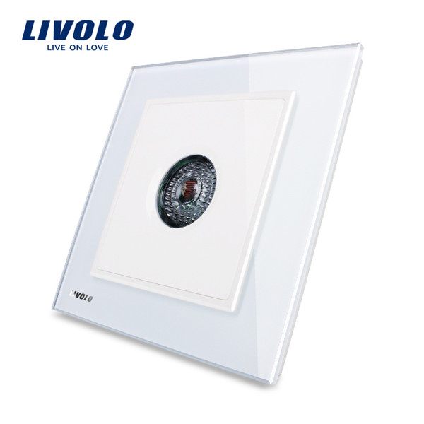 Livolo UK standard New Wall Light Sound Control Switch, AC 110~250V ,40S,White Crystal Glass Panel