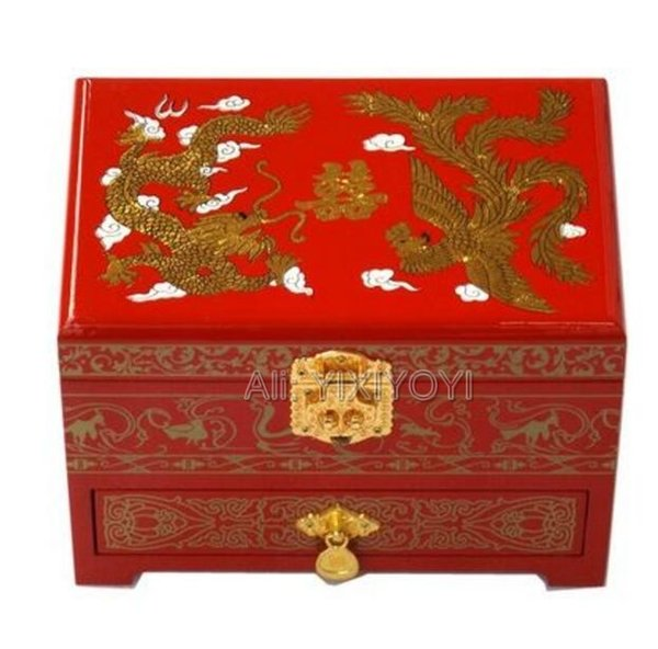 Retro Chinese 3 Layer Wood Storage Jewelry Box with Mirror Dragon Phoenix Wedding Bangle Display Box Container Carrying Case