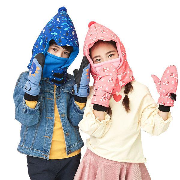 Kocotree Boys Girls Winter Skiing Hat Niños Warm Scarf Cap Lovely Cap Masked Cap para 1-12 años Niños Guantes opcionales