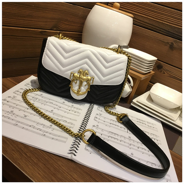 Shoulder BagHong Kong Gold Double Horse Brand logo (Special counter Direct Mail) Sheepskin Chain Single Shoulder Bag Ling Chequered Deluxe