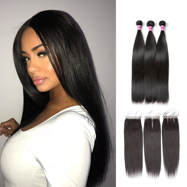 Perstar Brazilian Straight Hair Bundles With Closure 9A Brazilian Human Virgin Hair 3 Bundles With Lace Closure Natural Colors