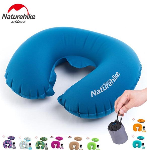 Naturehike fábrica Portátil U Forma Inflável Travesseiro Viagem Almofada Inflável Macio Pescoço Protetor HeadRest Travesseiro de Avião