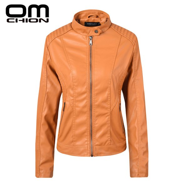 OMCHION 2019 New Spring Leather Jacket Women Black Mandarin Collar Zippers Short Female Faux Leather Jackets High Quality LMJ29