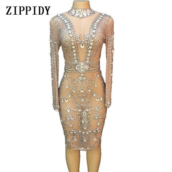 Cristais de prata brilhante vestido de malha vestidos de festa à noite das mulheres de aniversário comemorar traje cantor feminino stage show de vestido