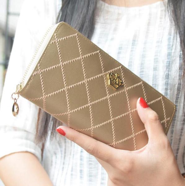 New ladies wallet classic rhombic clutch bag fashion explosion zipper wallet crown logo long wallet free shipping