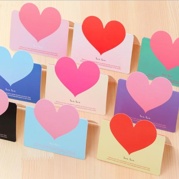Creative universal love heart pure color greeting card Valentine's Day gift small message card festival wedding blessing wishing thanks card