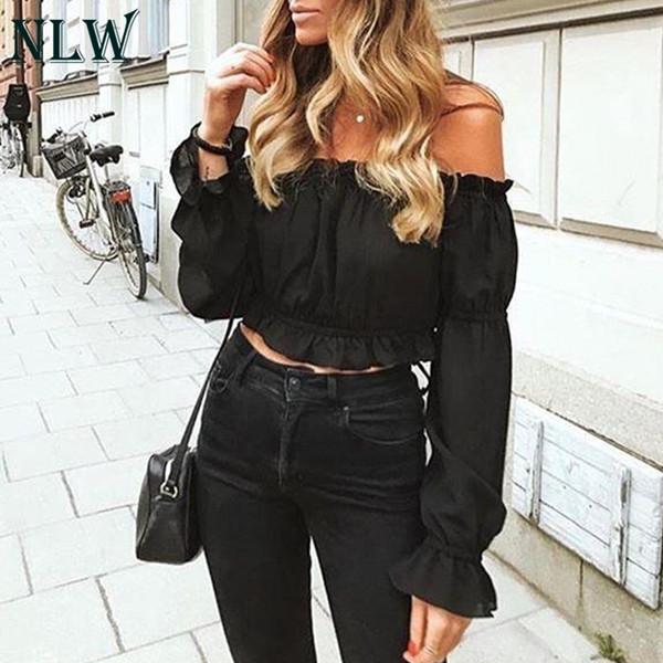 Nlw Schulterfrei Sexy Cropped Bluse Shirt Frauen Chiffon Crop Top Rüschen Solide Weiß 2019 Frühling Blusa Mujer 3 Farben J190618