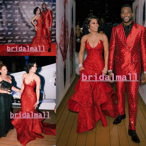 Plus Size Glitter Sequined Red Mermaid African Evening Dresses 2019 Elegant  Long Birthday Prom Party Gowns Red Carpet Celebrity Dress Formal Evening ...