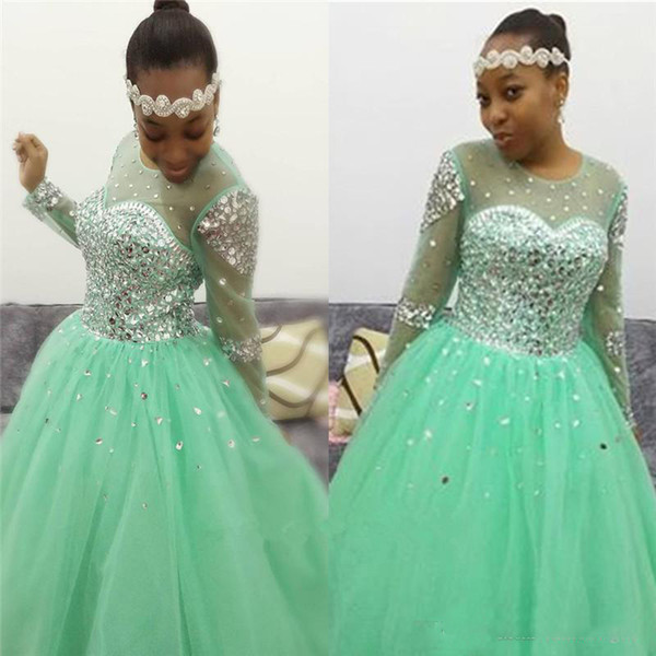 Latest Arrival Mint Green African Prom Dresses Tulle Crew Neck Crystal Beaded Corset Back Long Sleeve Evening Party Gowns