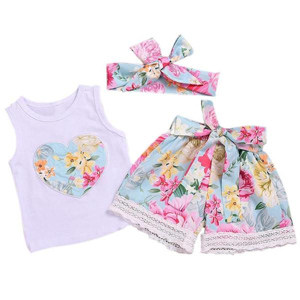 New Girls Suit National Wind Vest Pantaloncini Stampa floreale Commercio estero Abbigliamento per bambini Estate femminile Baby