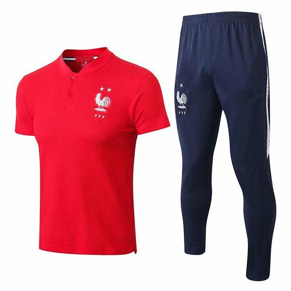 En çok satan Dünya Kupası Iki yıldız POGBA eşofman futbol forması Eğitim takım elbise kısa slevees giymek 3/4 pantolon 2018/19 MBAPPE futbol gömlek KITI