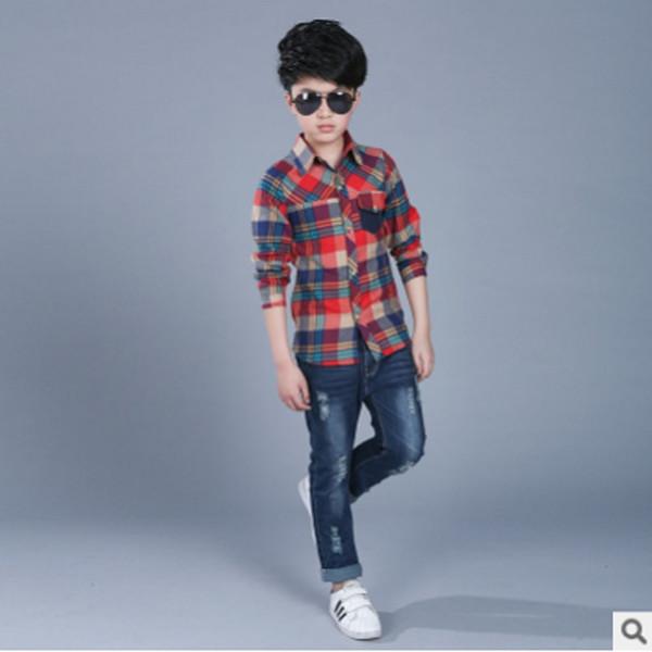 Garçons shirt 2019 Nouveau garçons printemps et d'été Un Pocket Casual Shirt 2 couleurs Plaid loisirs TURN-Col Size6-14 ly280