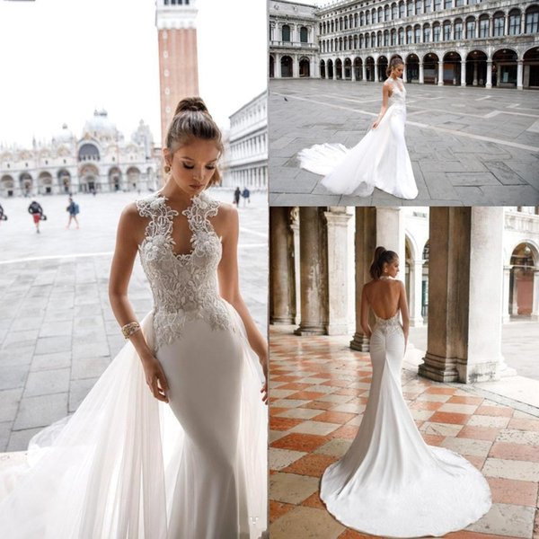 2019 Wedding Dresses with Detachable Train High Neck Beaded Lace Appliqued Backless Beach Bridal Gowns Custom Made BC2008