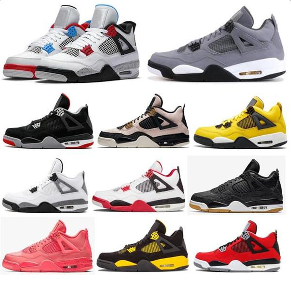 Alta qualità 4 What The Cool Grigio Silt Red Black Gum Men Scarpe da basket 4s Bred Hot Punch Lightning Thunder Sneakers Con Scatola