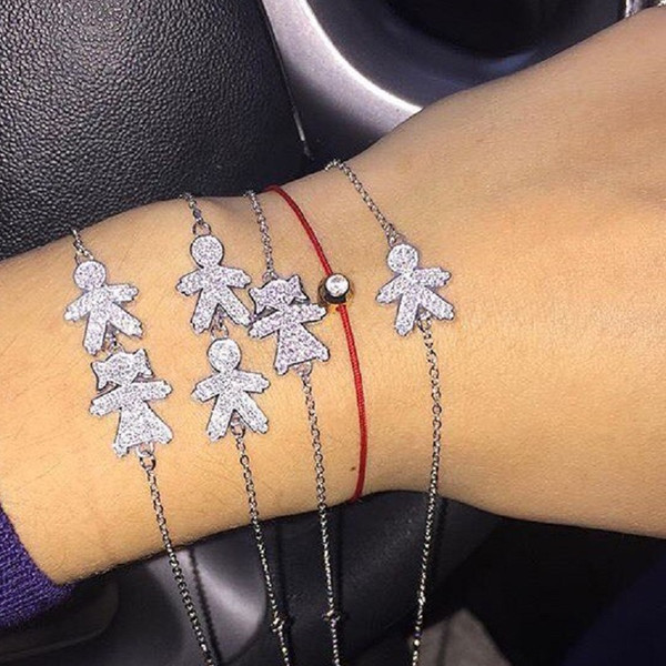 Beautiful 100% 925 Sterling Silver Baby Boy Girl Figure Charm Bracelets Pave Clear CZ Crystal for Women Mother Elegant Jewelry