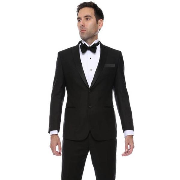 2019 Black Mens Slim Fit Groom suit Tuxedos masculino 2 pieces Groomsmen Wedding Prom Suits for men Custom Made (Jacket+Pants)