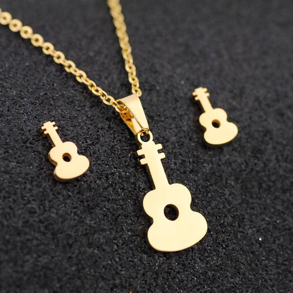 Bonitos conjuntos de joyas de acero inoxidable para mujeres, forma, collar de guitarra, pendiente, joyería, joyería de compromiso, conjunto de joyas