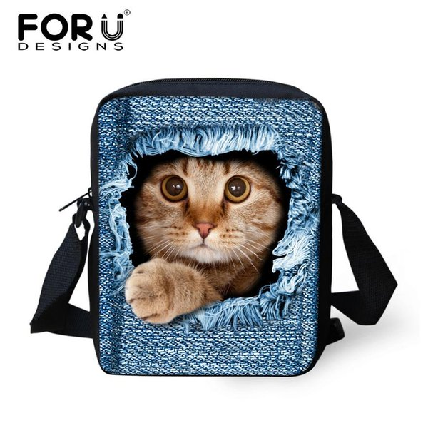 Venta al por mayor- Fashion Denim Prints Women Messenger Bags Pet Cat Dog 3D Cross-body Shoulder Travel Bags Girls Mini Bolsa Feminina Lady Handbag