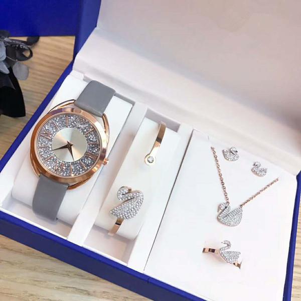 Marca de moda SWA Diseño Especial Espejo reflectante Reloj de pulsera para mujer Anillo Pendiente 5 en 1 Señora Reloj de pulsera de regalo para niñas de cuero