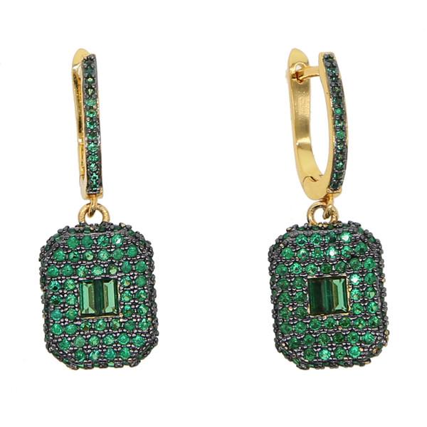 micro pave cz iced out mulheres brinco prong configuração Branco Verde cubic zirconia dangle earrings