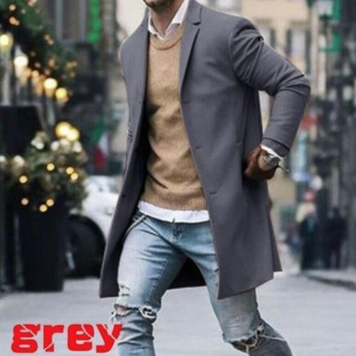 Escudo para hombre del foso del invierno solo pecho caliente Outwear largo sobretodo de la chaqueta formal