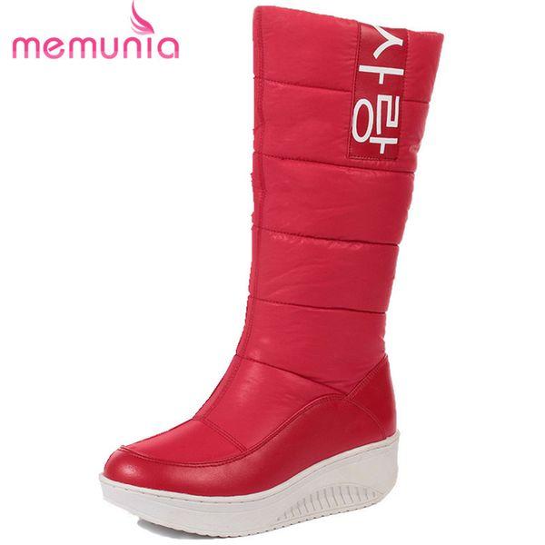 2019 MEMUNIA SIZE 35-44 Ladies snow boots wedges heels slip on women winter boots fur inside mid calf boots sweet shoes