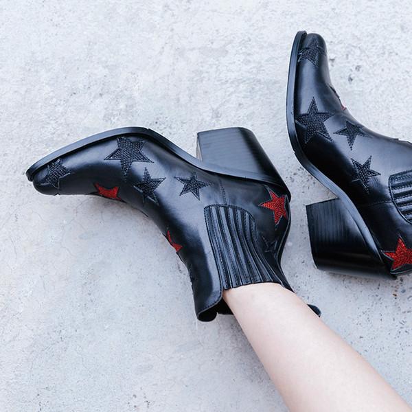 Negro Nuevo cuero genuino Star Cowboy Cool Boots Sexy punta estrecha Slip On Mujeres Moda Botas Zapatos Mujeres