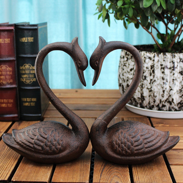 Pair of Cast Iron Swan Bookends Metal Book Ends Antique Room Desk Table Study Home Office Decor Rustic Brown Antique Vintage Crafts Animal