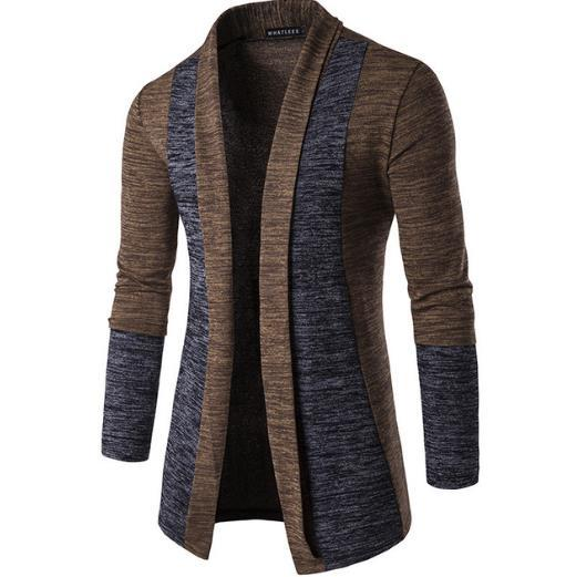 Mens weiche Baumwolle Schalkragen Strickjacke Pullover Slim Fit Casual Splice Strickjacke Mantel M-XXL grau Kaffee