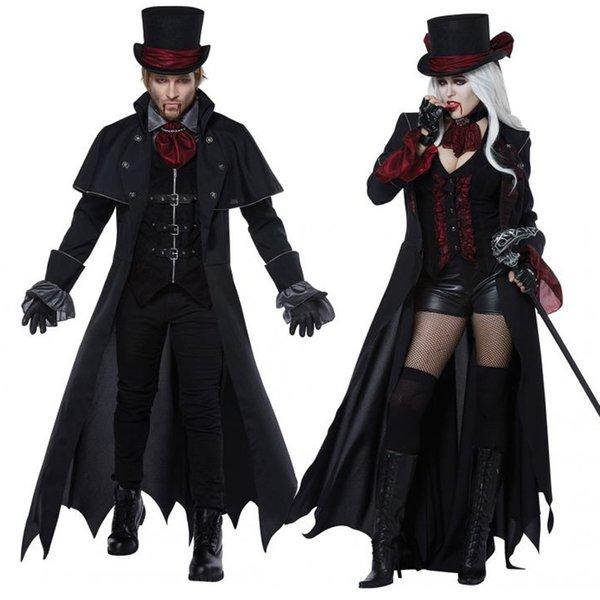 Halloween vitoriano dress trajes cosplay assustador vampiro bruxa roupas mulheres meninas medieval masquerade preto fantasia maxi dress