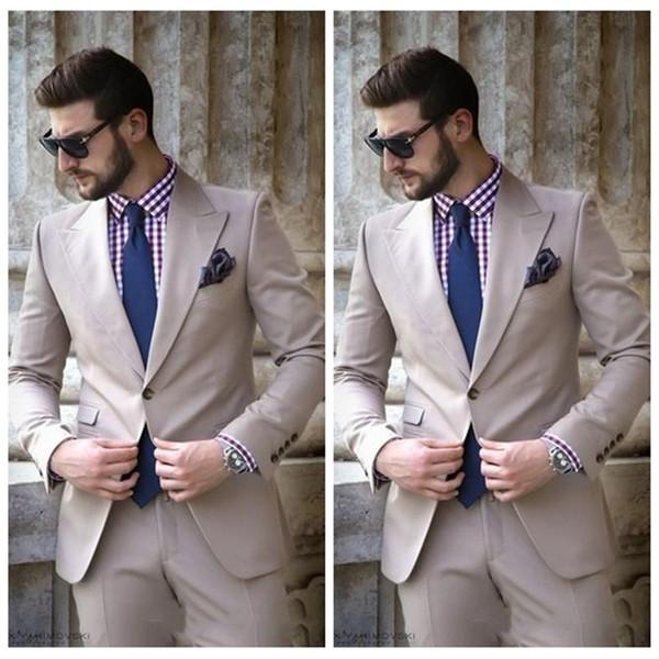 Latest Coat Pant Suit For Men Beach Formal 2019 Wedding Slim Fit Groom Tuxedo Custom Made Simple Groomsmen Suits (Jacket+Pants)