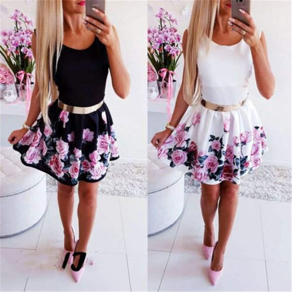 Summer Women Dress Vintage Boho Short Mini Dress Sexy Evening Party Beach Holiday Dresses 2019 Floral Print Sleeveless Sundress