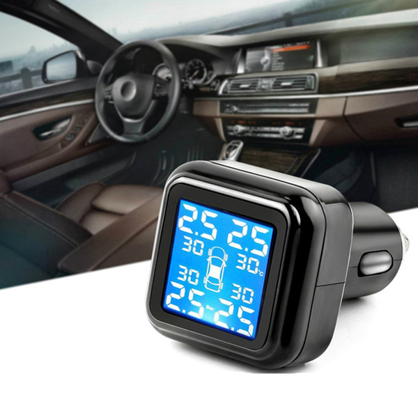 top popular Wireless Smart Car TPMS 12V Digital Tire Pressure Monitoring System Tire Pressure Alarm External Sensor 2021