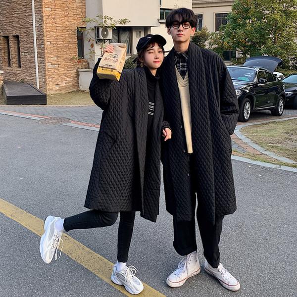 2019 Hiver Nouveau Manteau Solide Couleur Couple Mode Casual Veste en vrac épais simple boutonnage coton Black Tide S-2XL