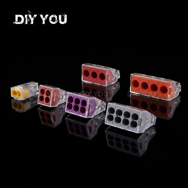 best selling Lights & Lighting 5 10 PCS DIY YOU PCT-102 103D 104 104D 106 108 Universal Compact Wire Wiring Connector Conductor Terminal Block With Lever