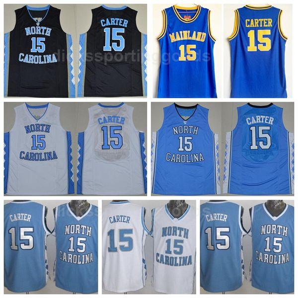 NCAA College 15 Vince Carter Jersey North Carolina Tar Heels High School Florida Daytona Beach Mainland Basketball Jerseys Carter Uniform