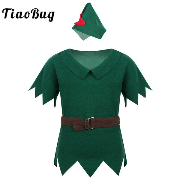 TiaoBug Boys Xmas Halloween Costume Children Fancy Anime Cosplay Party Set Short Sleeve Green Shirt with Hat Belt Kids Dress Up