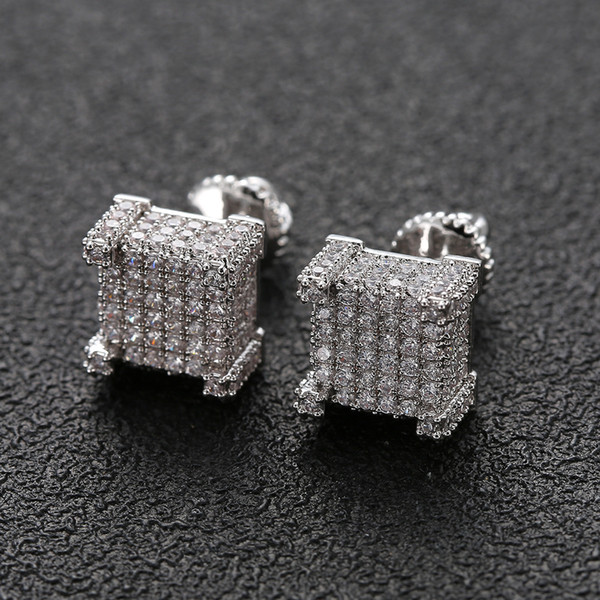 top popular Hip Hop Earrings for Men Gold Silver Iced Out CZ Square Stud Earring With Screw Back Jewelry 2021