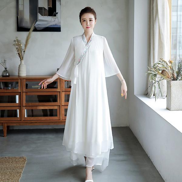 2019 Vintage Casual Casual Style Chinois femmes cheongsam classique lin floral élégant Zen méditation robe qipao chinois