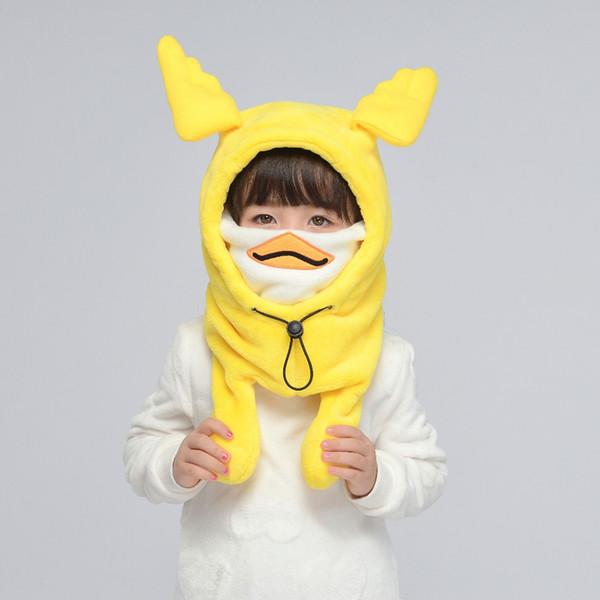 bambini giallo anatra cappelli per le orecchie inverno antivento in pile caldo paraorecchie skullies animale del fumetto ribalta berretti con maschera per il viso set di sciarpe