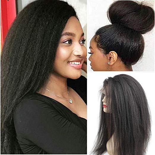 Kinky Düz İnsan Saç 360 Dantel Ön Peruk Ön Koparıp Doğal Renk 130% Yoğunluk siyah kadınlar için İtalyan yaki dantel frontal peruk
