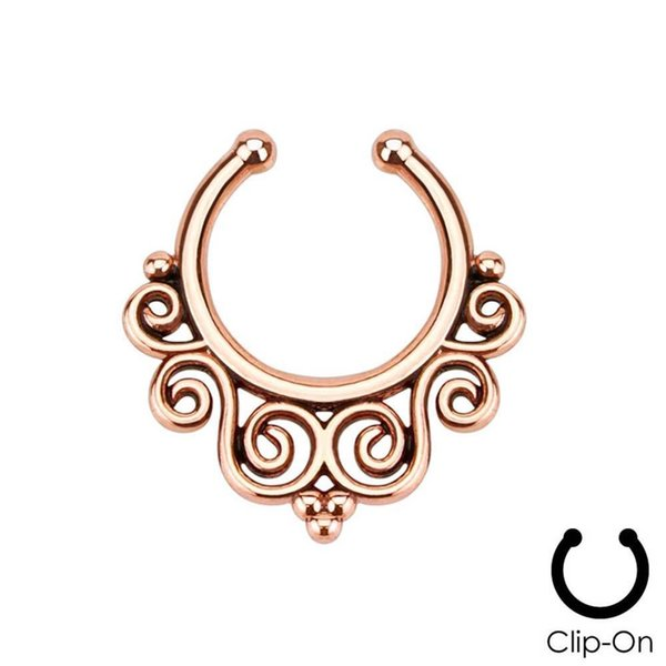 1 Piece Clip On Fake Septum Clicker Non Piercing Nose Ring Hoop Tribal Swirls 3 Colors For Choose