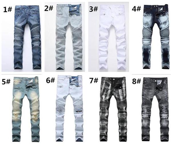 2pcs hommes en détresse déchiré Jeans moto droite Biker Jeans Causal Denim Pants Streetwear Style mens Jeans M366