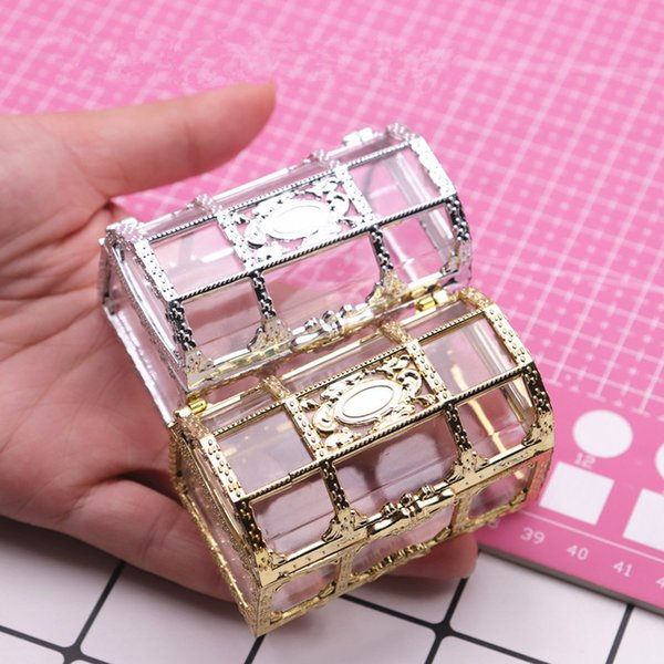 48pcs Creative Treasure Chest Storage Box Gold Silver Plastic Candy Chocolate Box Wedding Decorations Event & Party Supplies
