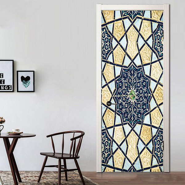 2Pcs/Set Creative Islamic Patterns Door Decal Large Size Window Vinyl Sticker Self-Adhesive Wallpaper Home Decoration