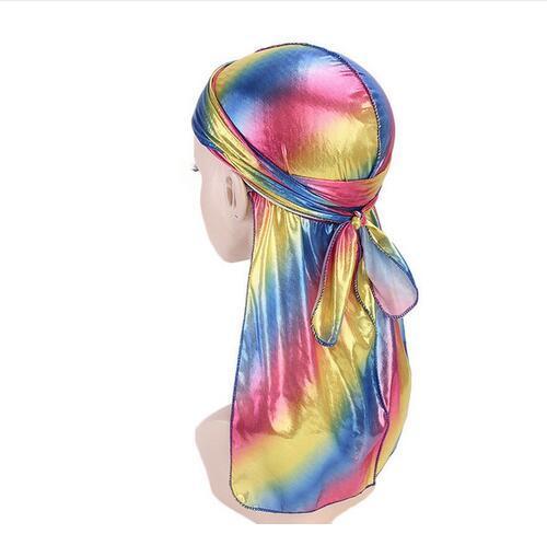 Men/Women Silk Laser Polyester Bandana Hat Durag Rag Tail Headwrap Headwear Gift GB810