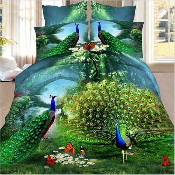 Juego de cama con estampado 3D de pavo real floral para adultos Ropa de cama Edredón nórdico Funda de edredón Sábana Funda de almohada Ropa de cama para el hogar Juegos de cama Textiles para el hogar