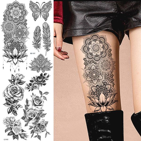 Tatuagens De Fenix Grande Preto Braço Henna Tatuagens Pernas Pulseira índia Mandala Flor Mehndi Tatuagem Temporária Mulheres Adesivos Corporais Big