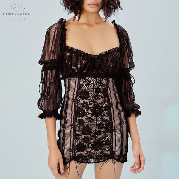 Compre Remiendo Atractivo De Las Mujeres Plaza Vestido De Cuello Alto De La Cintura Del Soplo Del Manguito Hueco Femenino De Los Vendajes Mini