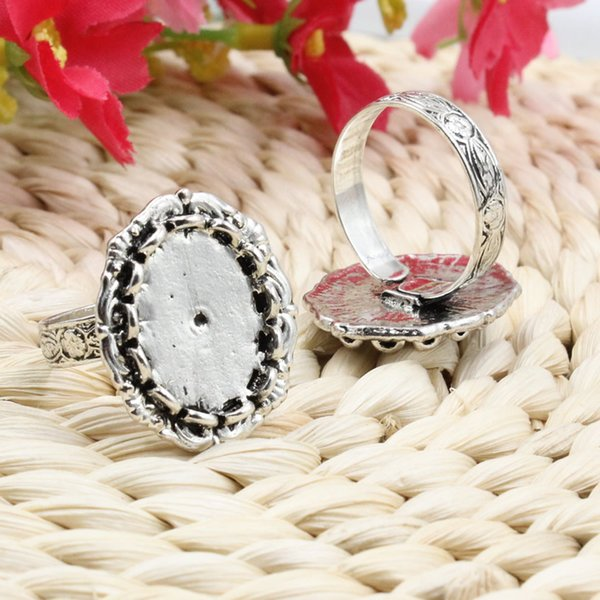 bezel setting Fit 13x18mm Cabochons Finger Ring Oval Antique Silver Cameo/Glass/Cabochon Frame bezel Setting adjustable 5pcs/lot (K05131)